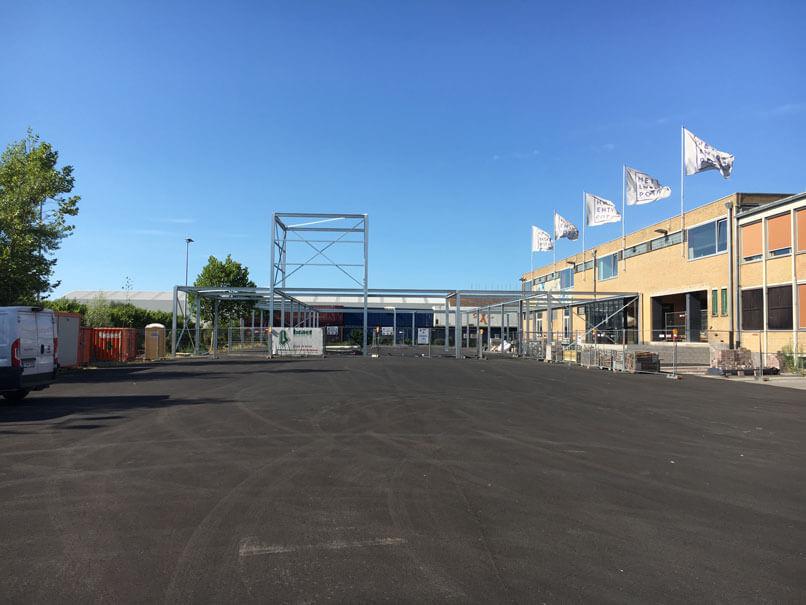 Work in progress: staalstructuur Entrepot Brugge geplaatst